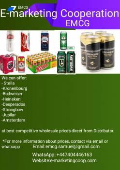 We can offer; Heineken, Budweiser, Stella Artois,Carlsberg, Desperados, Kronenbourg, Jupilar, Murphy, Leffe, etc Samuel E.I  WhatsApp:  +447404446163 Email: emcg.samuel@gmail.com